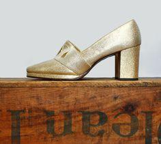 gold lamé shoes // late 60s platform heels // size 7 by LeMollusque, $54.00