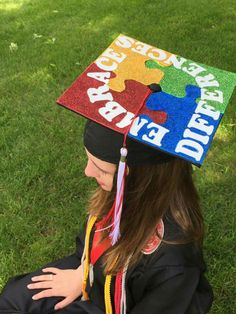 Autism inspired graduation cap! Always remember to embrace differences!!