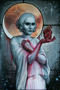 Queen of Hearts, Heather Mclean, eclipse, white skin, creepy lady, bloody dress, heart in hand,