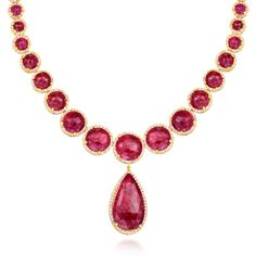 Scott Mikolay Rose Cut Ruby and Diamond Necklace. One of a kind handcrafted necklace with rose cut rubies surrounded by diamonds in 18k yellow gold.