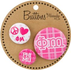 Phi Mu Three Buttons Phi Mu, Sorority, Frosting, Flood Icing, Glaze, Cloud Frosting, Frostings