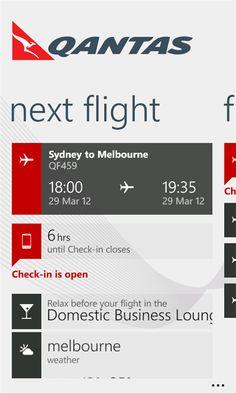 qantas airline app for Windows Phone 7.5
