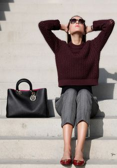 burgundy ballet flats with office outfit
