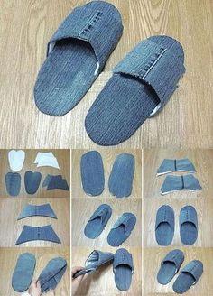 Ways To Lace Shoes, How To Make Shoes, Jean Crafts, Denim Crafts, Artisanats Denim, Denim Ideas, Recycle Jeans, Shoe Pattern, Crochet Shoes