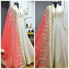VeroniQ Trends-Designer Off White Anarkali Suit,Anarkali Dress with Embroidered Dupatta, LOng Gown D White Anarkali, Silk Anarkali Suits, Long Anarkali, Anarkali Gown, Red Lehenga, Lehenga Choli, Salwar Suits, Cotton Anarkali, Sharara
