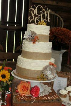 burlap wedding cake, textured buttercream, monogram wooden topper