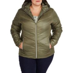 Climate Concepts Women's Plus-Size Hooded Chevron Quilted Jacket, Size: 2XL, Green