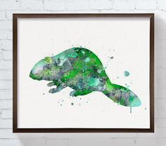 """High quality print of my original watercolor artwork Green Beaver.  ★ HOW TO ORDER ★ The artwork is available in different sizes and supports. You can browse all the options by the drop down menu.  ★ PRODUCTS DETAILS ★ - """"ONLY PRINT"""" : selecting this option you will receive a print, professionally printed on heavy weight (230 g. 9-5 mil), acid-free, high quality archival paper, with a beautiful embossed canvas texture (100+ year no-fade guarantee). Processing time: 2-3 business days…"""