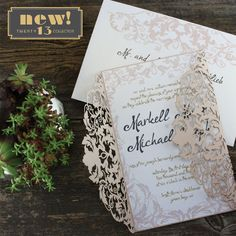 "Mexacoli is part of KatBlu's amazing new ""Twenty 13 Collection"" and designed by our Lead Designer, Markie for her own destination wedding. This collection features amazing laser cut designs that are configured in four different price points, so you can have elegance no matter your budget!"