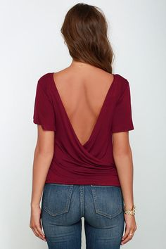Scoop De Loop Burgundy Short Sleeve Top at Lulus.com!