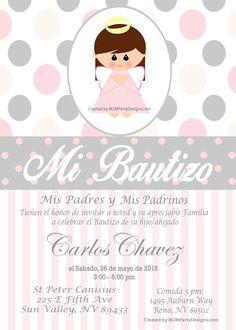 Invitacion de Bautizo, Baptism Invitation Custom Printable Print at by M2MPartyDesigns