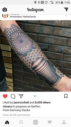 Leg Tattoos, Tribal Tattoos, I Tattoo, Optical Illusion Tattoo, Optical Illusions, Tatting, Tattoo Ideas, Mandala, October