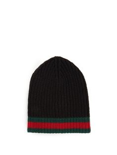 fc857fa5263 Click here to buy Gucci Striped-edge ribbed-wool beanie hat at  MATCHESFASHION.