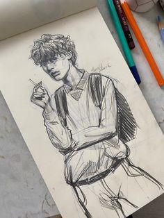 Pencil Art Drawings, Cool Drawings, Art Sketches, Art Jokes, Young Art, Character Design Inspiration, Aesthetic Art, Art Sketchbook, Figurative Art