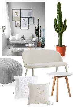 Un salon blanc et verdoyant