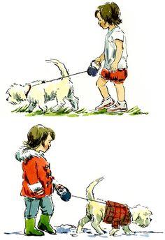 Claire Fletcher art girl dog winter summer