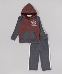 Navy & Red Hoodie & Track Pants - Infant, Toddler & Boys by Kids Headquarters #zulily #zulilyfinds