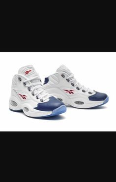 b63f13fd3f7 Reebok Question Mid White Blue  First worn during his dazzling rookie  season where he made breaking ankles a nightly affair