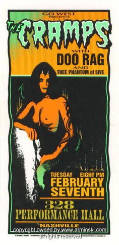 1995 The Cramps Concert Poster by Mark Arminski (MA-022)