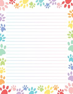 Free printable pastel paw print stationery for x 11 paper. Available in JPG or PDF format and in lined and unlined versions. Stationary Printable Free, Printable Lined Paper, Free Printables, Notebook Paper, Borders For Paper, Instagram Design, Stationery Paper, Writing Paper, Note Paper