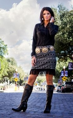 Cowgirl Justice Fall 2014 Aztec Skirt with Fringe Short Skirt!, Cowgirl Justice, Skirt, Aztec, Western, Fringe, Short skirt, black, white, fall 2014, fashion, womens