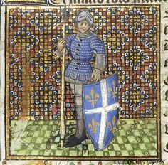 Julian of Brioude, wearing helmet and armor, holds spear in right hand and in left hand shield upon which are cross and four fleur-de-lis | Book of Hours | France, Angers or Nantes | ca. 1440 | The Morgan Library & Museum