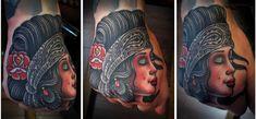 A sick gypsy/chola girl hand piece by artist Tim Hendricks.  #tattoos #tattoo #ink #art #tattooed #handtattoos #inked #bodyart #hookedontattoos