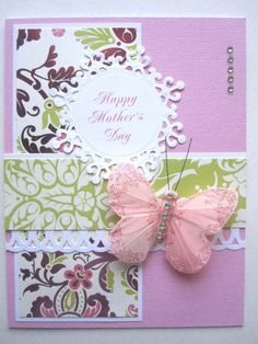 Mothers Day Cards Handmade | Handmade Mother's Day card butterfly pink and lime green can be ...