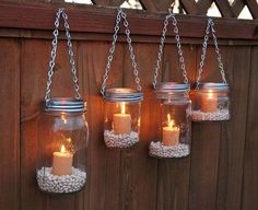Hanging Mason Jar Garden Lights DIY Lids Set by TheCountryBarrel I can do this for the backyard! Switch out candles for battery or LED candles. Hang from shepherds poles or from the tree. ideas 9 Inspiring Outdoor Spaces - My Craftily Ever After Mason Jar Lanterns, Hanging Mason Jars, Diy Hanging, Led Candles, Mason Jar Lamp, Jar Candle, Hanging Lights, Hanging Candles, Outdoor Candles