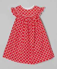 Look at this Red Quatrefoil Angel-Sleeve Dress - Infant, Toddler & Girls on #zulily today!