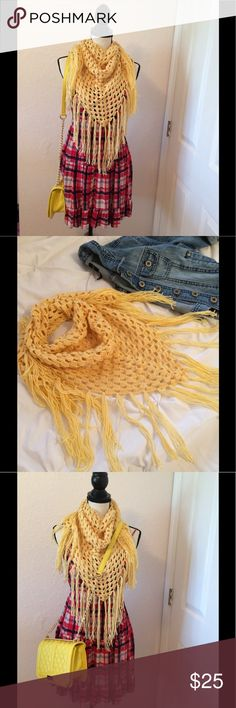 🍁 Fall Trendy Triangle Scarf Crochet Handmade Congrats, you just met your new favorite scarf! This trendy beauty is the perfect piece to tie any fall outfit together and the sweet honey like color is simply stunning. Handmade with love! Also available in blue. Handmade Accessories Scarves & Wraps