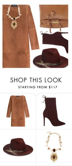 """""""Winter Suede"""" by kearalachelle ❤ liked on Polyvore featuring Vanessa Seward, Hermès, ALDO, Eugenia Kim and Dolce&Gabbana"""