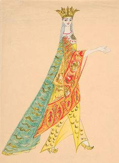 Natalia Goncharova (1881-1962). Sadko, Costume design, 1916. Watercolor, pen, and ink. Pauline Billings Taylor Collection. HTC 4,990. Gift, 1980.