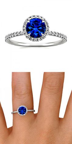 This sparkling halo setting features beautiful micro-pavé diamonds that encircle the center gem and adorn the band.