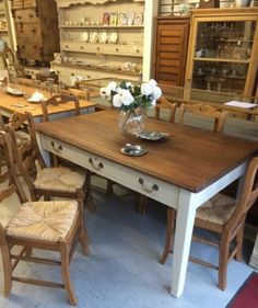 Antique-1930s-Pitch-Pine-Table-3-Drawers-Vintage-Dining-Kent-Furniture-Showroom