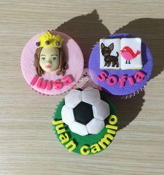 Cupcake de princesa. Cupcake de libro. Cupcake de futbol. Cupcake con mensaje