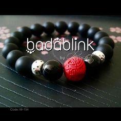 Black onyx and metal bracelet with red cinnabar bead   | Material: natural stones, cinnabar beads and metal  | Length: 18-22 cm/7-9 inches   | Inquiries: facebook.com/badablink    | Line: badablink    | Email: hello@thebadablink.com