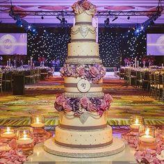 Wedding Planners - Eventrics Weddings | Decor - Occasions by Shangri-la | Venue - Hyatt Regency Orlando | Sangeet & Wedding Cake - Sprinkles Custom Cakes | Photographer - J. Cogliandro Photography | Indian Wedding Cake | Indian Wedding Reception