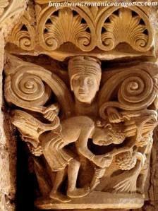 CarrionSanZoilo-capitel Romanesque Sculpture, Romanesque Art, Graven Images, Roman Church, Ancient Goddesses, Carolingian, Gothic Architecture, European History, Medieval Art