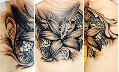 My lily and lace tattoo; Noah Ryan Custom Tattoos, Md. #lacetattoo