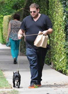 Pin for Later: The Weekend's Must-See Snaps!  Jonah Hill took his cute dog on a walk in LA on Saturday.