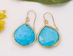 Large 18K Gold Vermeil bezel set Natural Turquoise drop earrings. $72.00, via Etsy.