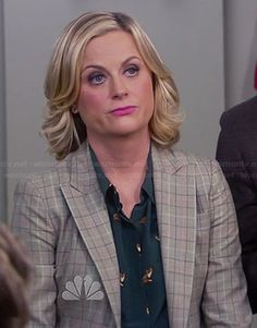 Why does it have to be $300?!? Leslie's green fox print top on Parks and Recreation.  Outfit Details: http://wornontv.net/27728/ #ParksandRecreation