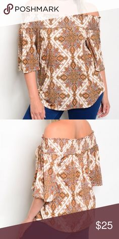 JUST ARRIVED!! Plus Size Off Shoulder Top Plus size off shoulder top. Beautiful tan/white pattern. 95% polyester, 5% spandex. Has a nice drape to it. Made in the USA. Get 10% off when you bundle two or more items from my closet. Tops Blouses
