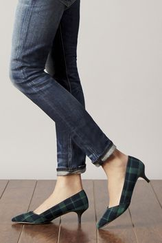 Denims and Green & navy plaid kitten heels