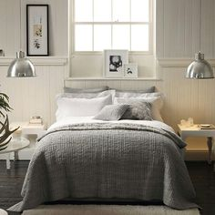 Lovely light grey bedroom. Maybe with some yellow too