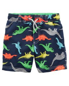 Mans Colorful Dinosaurs Hear me Roar Colorful Polyester Quick Dry Running Swimming Shorts