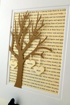 Personalized Wedding or Anniversary Gift, Paper Tree with Hearts, Anniversary Gift, Paper Anniversary, Wedding Vows Lyric Tree Gift - Diy Wedding Gifts, Wedding Cards, Diy Gifts, Wedding Vows, Wedding Venues, 1st Anniversary Gifts, Paper Anniversary, Anniversary Ideas, Personalized Valentine's Day Gifts