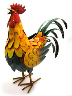"""METAL GOLDEN ROOSTER 16"""" TALL GARDEN OR COUNTRY HOME DECOR CHICKEN"""