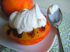 Grilled Peaches with bourbon and cream